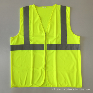 ANSI / ISEA 107 chaleco de seguridad reflectante de cremallera amarillo barato con EN 20471 cinta reflectante de 3 m