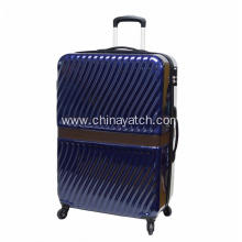 Spinner Wheels Wave Pattern Shiny Suitcase
