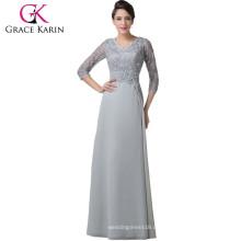 Grace Karin Grau Mutter der Braut Kleider Chiffon Langarm Spitze Abendkleid CL6247