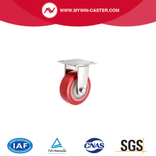 5 इंच ऊपर थाली सफेद पीपी स्टेनलेस स्टील ढलाईकार व्हील पर कठोर लाल पु