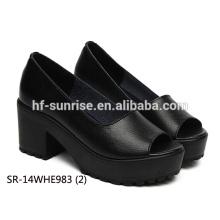 SR-14WHE983 (2) black genuine leather women shoes fashion ladies shoes wholesale ladies high heel shoes