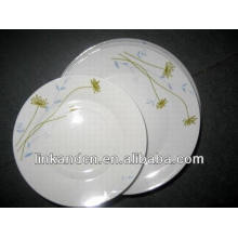 Haonai 12pcs dubai white porcelain dinner plate set