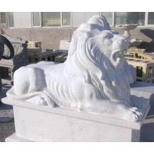 Décoration de jardin en plein air sculpté en plein air marbre blanc allongé lion sculpture