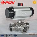 Pneumatic sanitary clamp ball valves t type