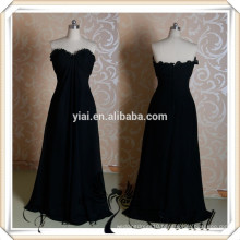 RSE232 Ruffle Neckline Drapped Skirt Long Black Chiffon Fat Bridesmaid Dress