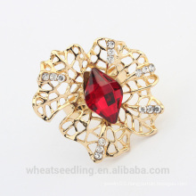 luxury Skeleton gold flower ring with big glass stone