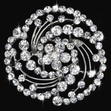Fashion metal zinc alloy brooch flower rhinestone brooch bridal jewelry wholesale