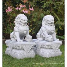 pierre chinoise sculpture marbre sculpté à la main fu chien statues