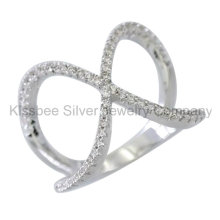 Fashione 925 Sterling Silver Jewelry Inlaid Cross Ring (KR3093)