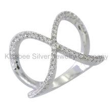 Fashione 925 prata esterlina jóias incrustadas anel cruz (kr3093)