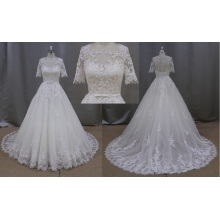 A Line Half Sleeves Appliques Lace Bridal Wedding Dress