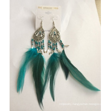 Green Feather Earrings with Metal