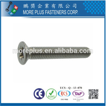 Feito em Taiwan Cross Recessed Drive Flat Head Mild Steel Niquelado em Zinco Metric M5X10 Screw Máquina