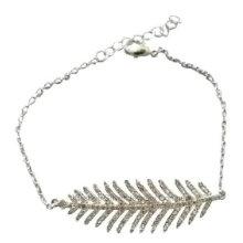 Moda 925 prata esterlina jóias pulseira folha jóias (kt3173)