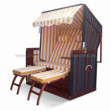 Beach Sun Chaise Lounge with 11mm PVC Rattan and Adjustable Backrest
