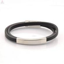 2017 personnalisé gravé en acier inoxydable Bracelet en cuir Bracelet pour homme