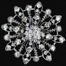 Fashion Jewelry Women Clear Rhinestone Crystal Flower Brooches silver plated Bouquet Pins Wedding Christmas gift