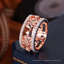 2018 nouveau design unique rose or placage gros paramètres de l'anneau sans pierres