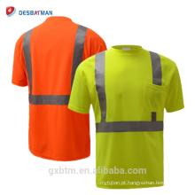 ANSI 107 laranja / amarelo segurança reflexiva camiseta manga curta, Hi-vis em torno do pescoço T-shirt Fluo desgaste do trabalho