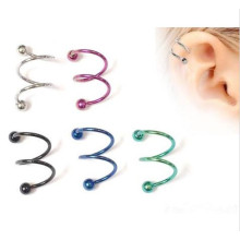 14G Titanium Anodized Double Twister Spiral Barbell