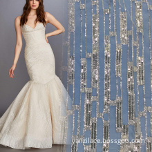 Stripe Crystal Sequin Embroidery Lace