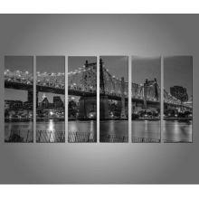 6 pcs Puente de Londres imprime sobre lona Decalques de PINTURA en blanco y negro para el hogar, Hotel Oficina