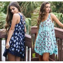 Verão sem mangas Chiffon Floral Printed Ladies Mini Dress