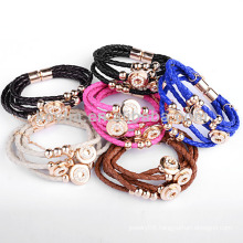 Hot sale colourful braided leather cord bracelet NH00258