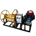 Belt driven cable powered pulling winch with diesel engine