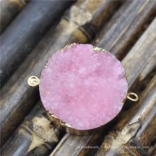 Couleur rose pendentif Drusy Druzy connecteurs Nature Druzy Geode Quartz pierres Druzy Gemstone plaqué or pendentif