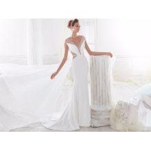 Cetim de seda sereia marfim vestido de noiva nupcial