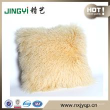 Les plus populaires Vente agneau mongol peau de mouton fourrure couverture d'oreiller couleur crème