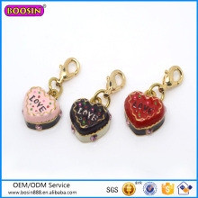 Factory Wholesale Cute Cakes Charm, Heart Shape Jewelry Charm #16078