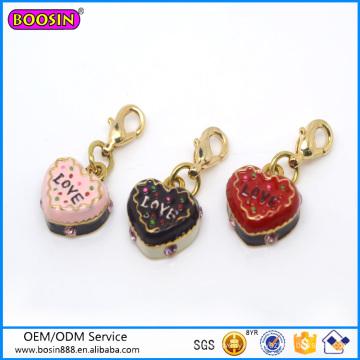 Factory Wholesale Cute Cakes Charm, Heart Shape Jewelry Charm #16078