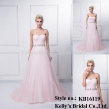 Neuer Entwurf elegante rosafarbene Muster Chiffon- Meerjungfrauhochzeiten sleeveless Schatzbrautjunferkleidmuster