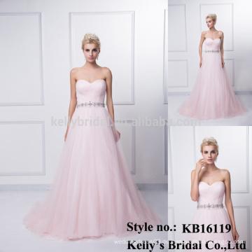 Ein heißer Verkauf rosa Tüll Falten auf Front A-Linie Kleid Kleid KB16119