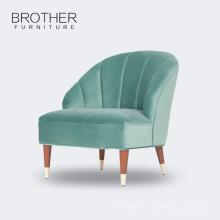 Style européen moderne tissu vert salon en bois chaise canapé unique