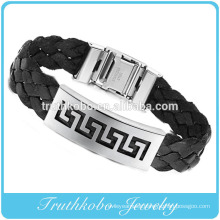 High quality custom stainless steel jewelry thick back PU famous brand silicone leather bracelets personalized for men