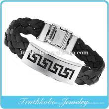 Personalizado de alta qualidade em aço inoxidável jóias grossas de volta PU famosa marca de couro de silicone pulseiras personalizadas para homens