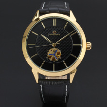Leather band 3atm automatic skeleton watch