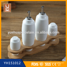 Cylindrical Porcelain ceramic condiment set oil vinegar salt pepper set
