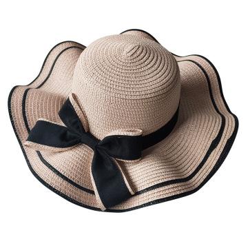 Korean Style Women Straw Hat Sweet Fashion Ladies Big Brim Bow Wave Shape Beach Outdoor Casual Sunshade Cap