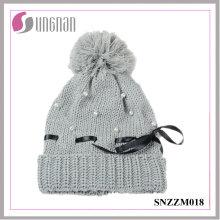 2015 dernières chaudes femmes perle Bow Knit Hat fourrure balle laine cap