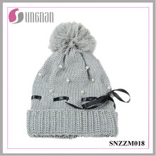 2015 Latest Warm Women Pearl Bow Knit Hat Fur Ball Wool Cap