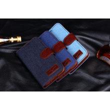 para Samsung S6 Jean cuero cartera caja funda