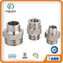 Macho de aço inoxidável rosqueado mamilo de montagem de tubulação de unidade de hexágono (kt0412)