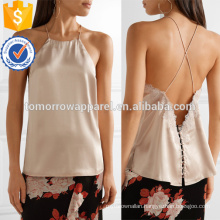 Lace-trimmed Silk-charmese Camisole Manufacture Wholesale Fashion Women Apparel (TA4094B)