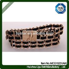 Frauen Metall klassischen Taille weiblichen schwarzen goldenen schmalen Gürtel für Damen Kleid / Cintos Moda Mulher Cinto de Metal