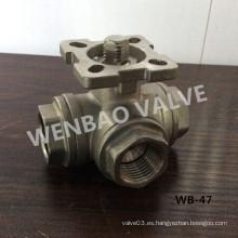 L Válvula de bola de tres vías con cojinete de montaje ISO5211
