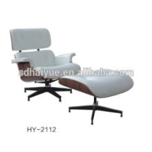 Venda muito quente modelo Lounge Chair Com Otomano fazer em couro de vaca superior e madeira de nogueira HY2112